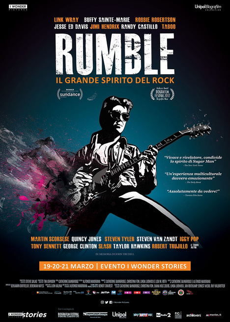 "Locandina del film documentario ""Rumble il grande spirito del rock"""